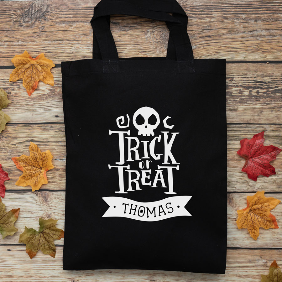 Personalised Halloween trick or treat bag (Black) perfect for Halloween trick or treat featuring trick or treat quote and personalised banner