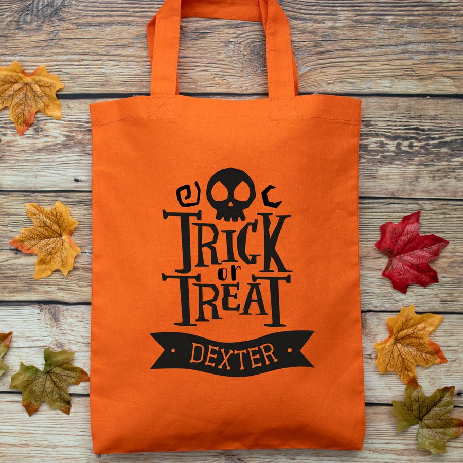 Personalised Halloween trick or treat bag (Orange) perfect for Halloween trick or treat featuring trick or treat quote and personalised banner