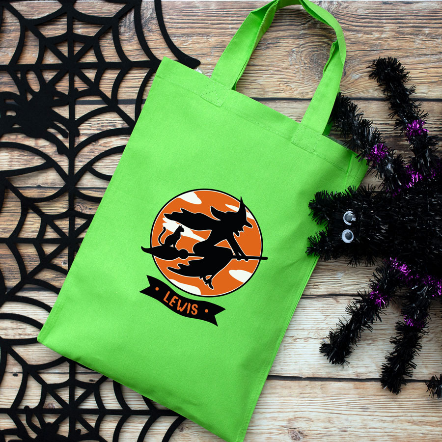 Personalised witch and cat trick or treat bag (Green) perfect for Halloween trick or treat featuring a witch and cat on a broomstick and personalised banner