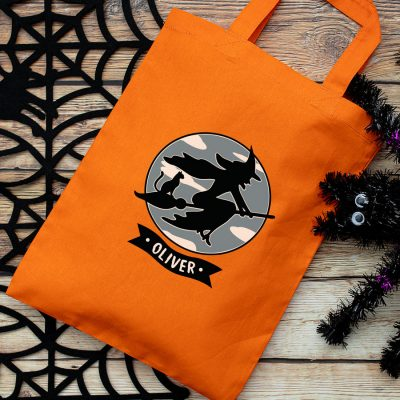 Personalised witch and cat trick or treat bag (Orange) perfect for Halloween trick or treat featuring a witch and cat on a broomstick and personalised banner