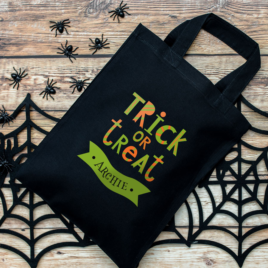 Personalised trick or treat bag (Black) perfect for Halloween trick or treat featuring trick or treat quote and personalised banner