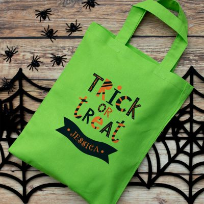 Personalised trick or treat bag (Green) perfect for Halloween trick or treat featuring trick or treat quote and personalised banner