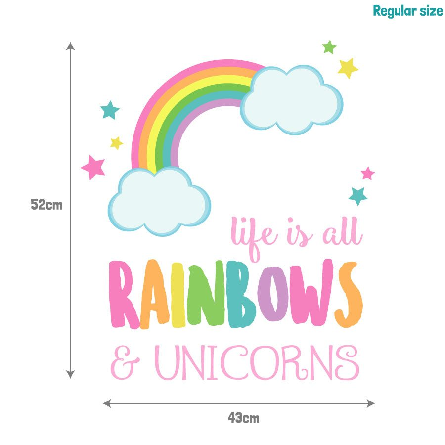 Life is all rainbows and unicorns wall sticker | Unicorn wall stickers | Stickerscape | UK