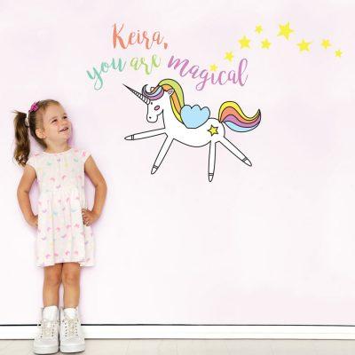 Personalised magical unicorn wall sticker   Unicorn wall stickers   Stickerscape   UK