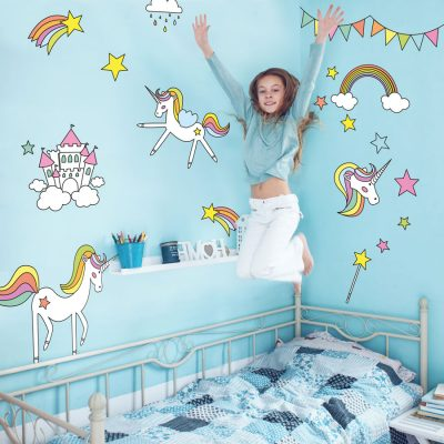 unicorn and rainbows stickaround wall stickers in a cartoon style