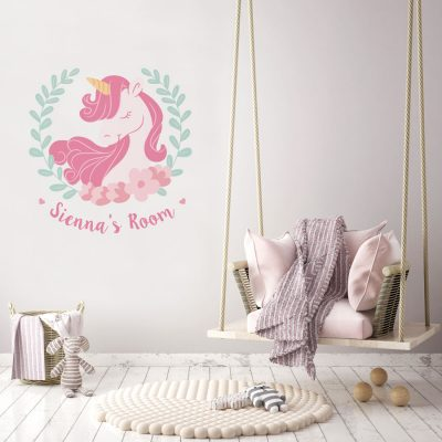 Personalised unicorn wreath wall sticker | Unicorn wall stickers | Stickerscape | UK