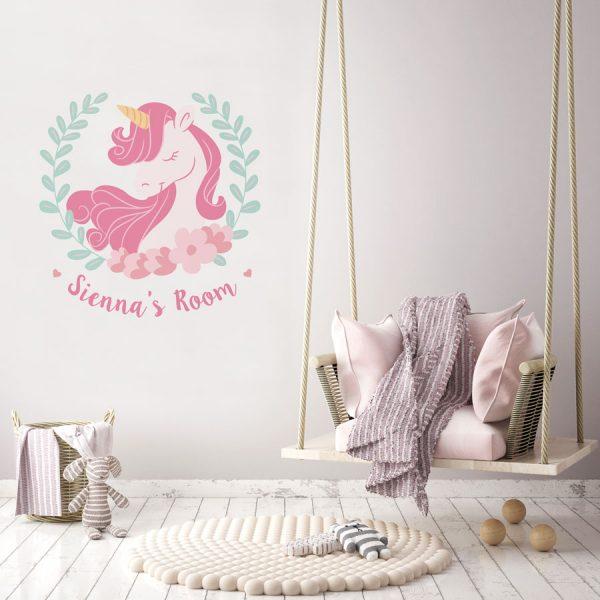 Personalised unicorn wreath wall sticker | Unicorn wall stickers | Stickerscape | UK