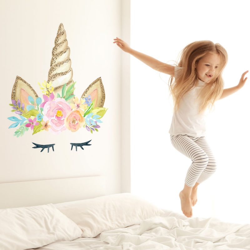 unicorn wall sticker perfect for decorating a childs bedroom