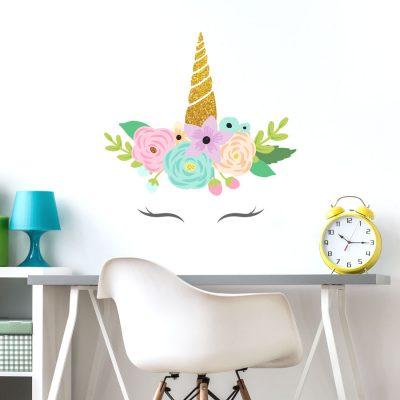 Glitter unicorn horn wall sticker | Glitter unicorn wall stickers | Stickerscape | UK