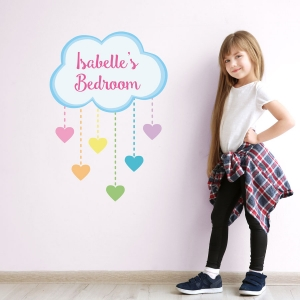 Personalised rainbow hearts wall sticker | Unicorn wall stickers | Stickerscape | UK