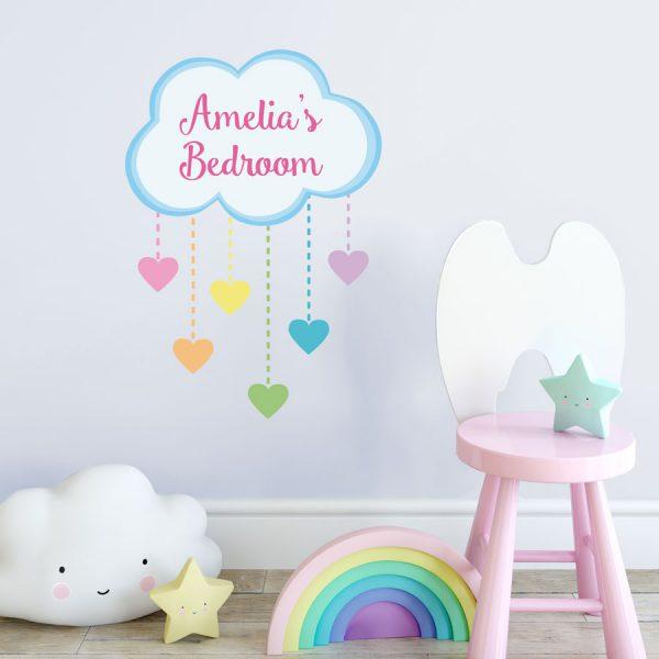 Personalised rainbow hearts wall sticker | Unicorn wall stickers | Stickerscape | UK