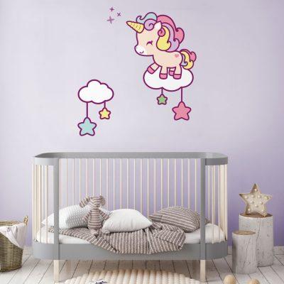 Cute unicorn and stars wall sticker | Unicorn wall stickers | Stickerscape | UK