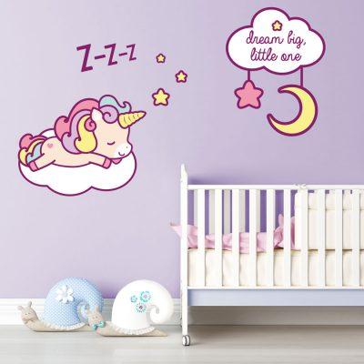 Cute sleeping unicorn wall sticker | Unicorn wall stickers | Stickerscape | UK