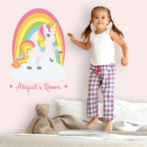 Personalised rainbow unicorn wall sticker | Unicorn wall stickers | Stickerscape | UK
