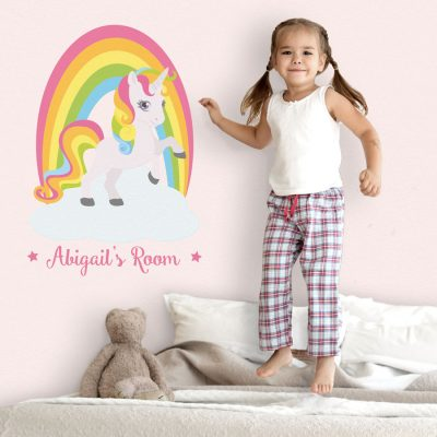 personalised rainbow wall sticker with unicorn perfect above a girls bed