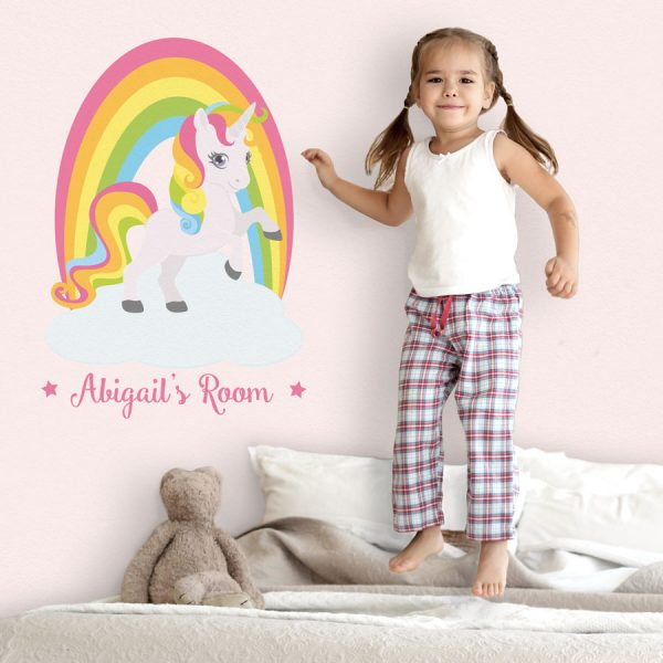 Personalised rainbow unicorn wall sticker | Unicorn wall stickers | Stickerscape | UK
