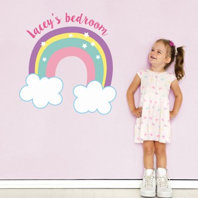 personalised rainbow and clouds wall sticker perfect for decorating a little girl's bedroom