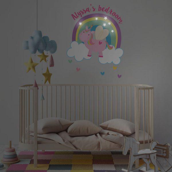 Personalised flying unicorn wall sticker | Unicorn wall stickers | Stickerscape | UK