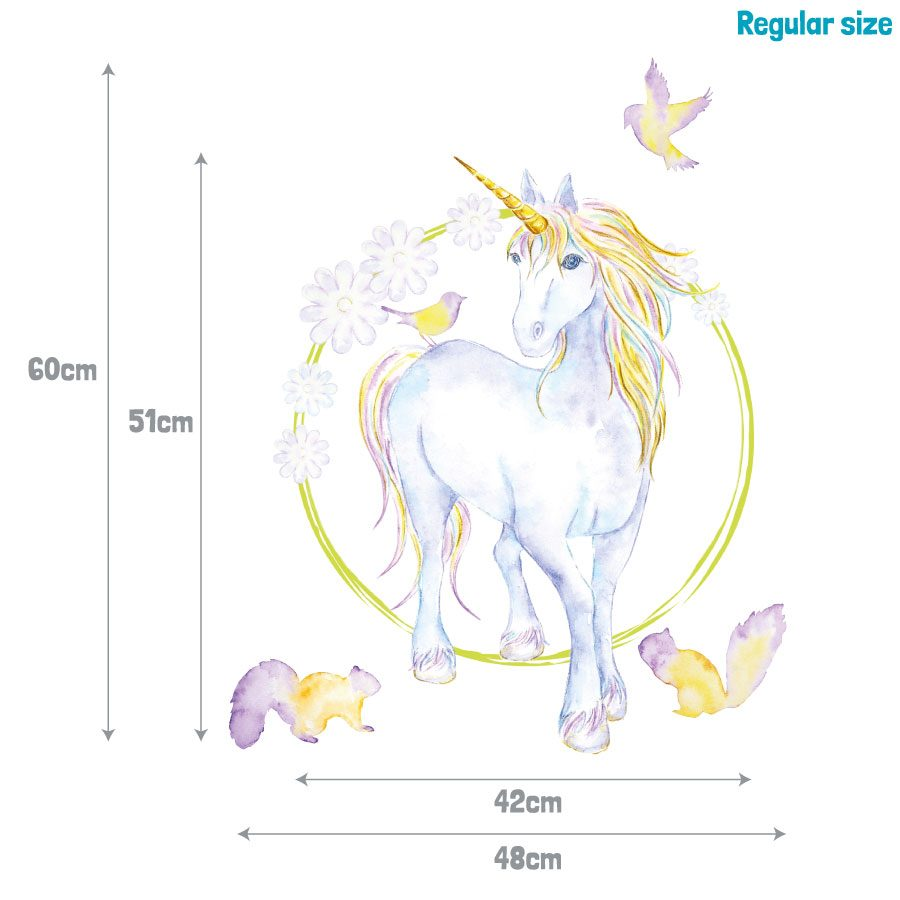 Mythical unicorn and flowers wall sticker | Unicorn wall stickers | Stickerscape | UK