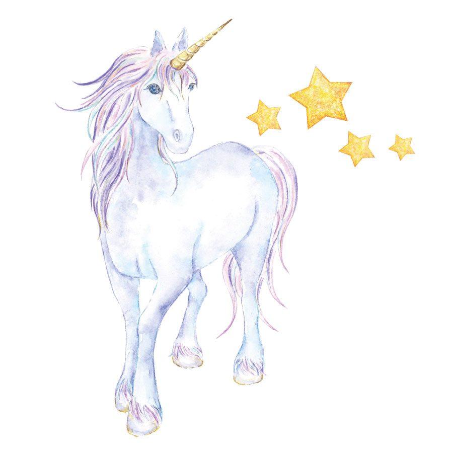 Mythical unicorn and stars wall sticker | Unicorn wall stickers | Stickerscape | UK