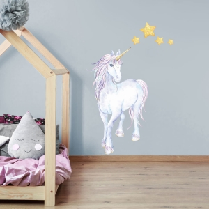 Mythical unicorn and stars wall sticker | Unicorn wall stickers | Stickerscape | UK