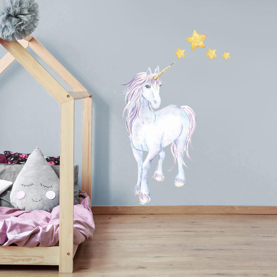 Mythical Unicorn And Stars Wall Sticker Unicorn Wall Stickers Uk