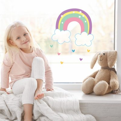 rainbow and hearts window stickers perfect for decorating a little's girls bedroom window