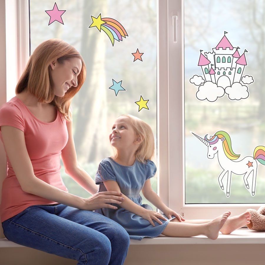 Unicorn and castle window stickers | Window stickers | Stickerscape | UK