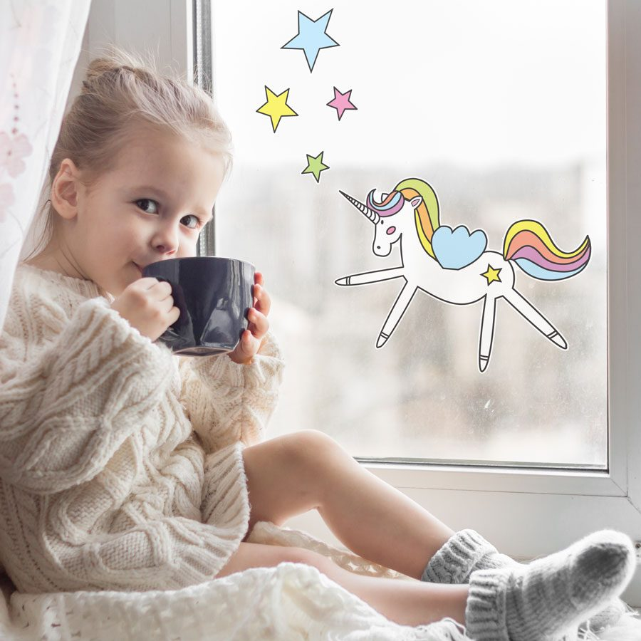 Unicorn and stars window stickers | Window stickers | Stickerscape | UK