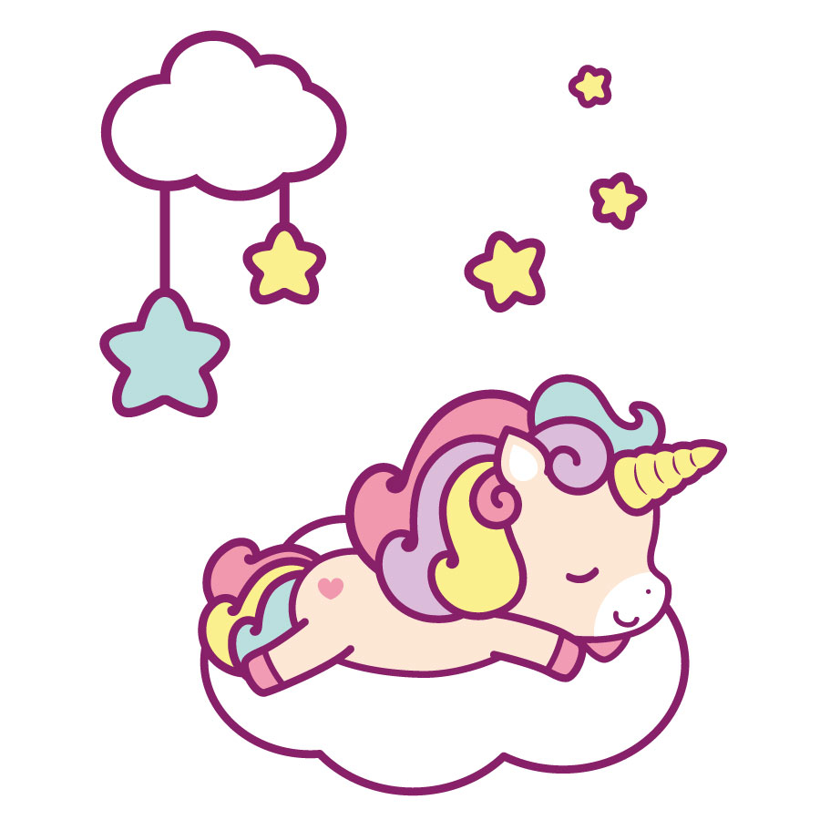 Cute unicorn and clouds window stickers