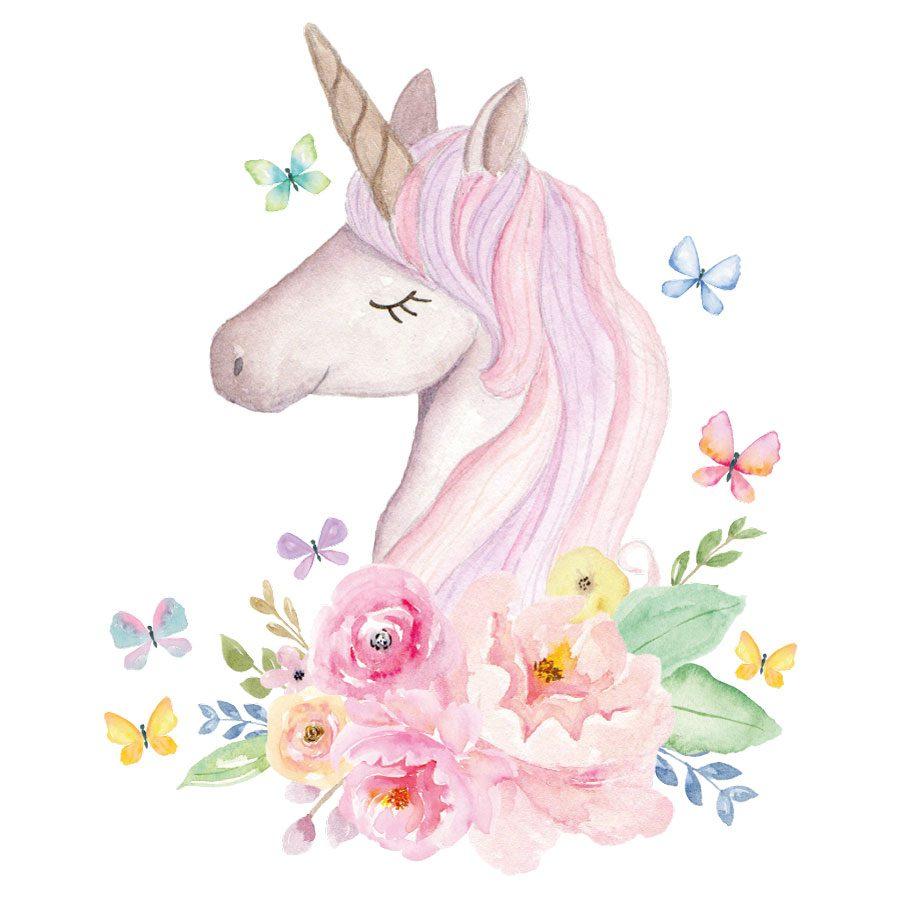 Watercolour unicorn head wall sticker | Unicorn wall stickers | Stickerscape | UK