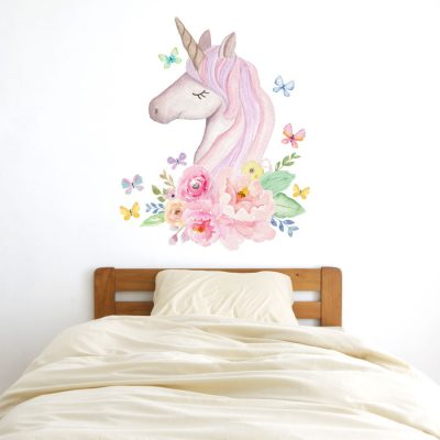 Watercolour unicorn head wall sticker | Unicorn wall stickers | Stickerscape | UK