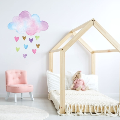 Watercolour cloud and hearts wall sticker | Unicorn wall stickers | Stickerscape | UK