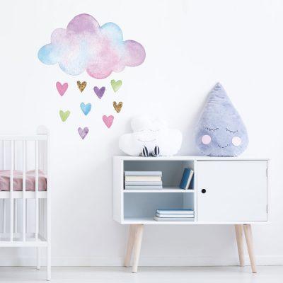 Watercolour cloud and hearts wall sticker   Unicorn wall stickers   Stickerscape   UK