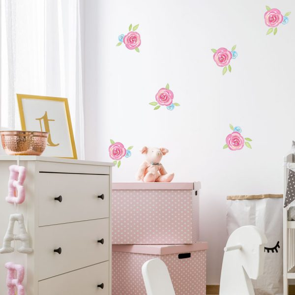 Watercolour rose wall stickers | Shape wall stickers | Stickerscape | UK