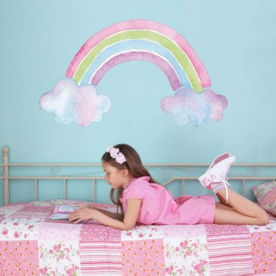 Rainbow wall sticker with watercolour style perfect for a girl's bedroom