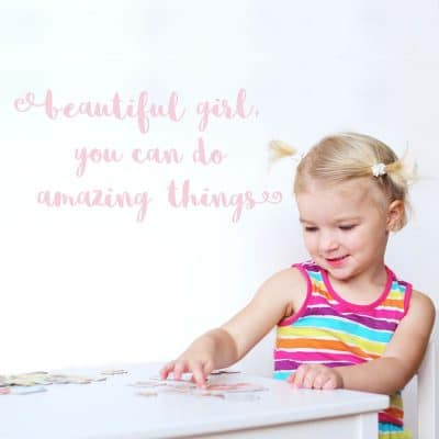 beautiful girl wall sticker quote in pink perfect for decorate a girl's bedroom