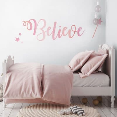 Believe quote wall sticker in pink perfect for a girls bedroom