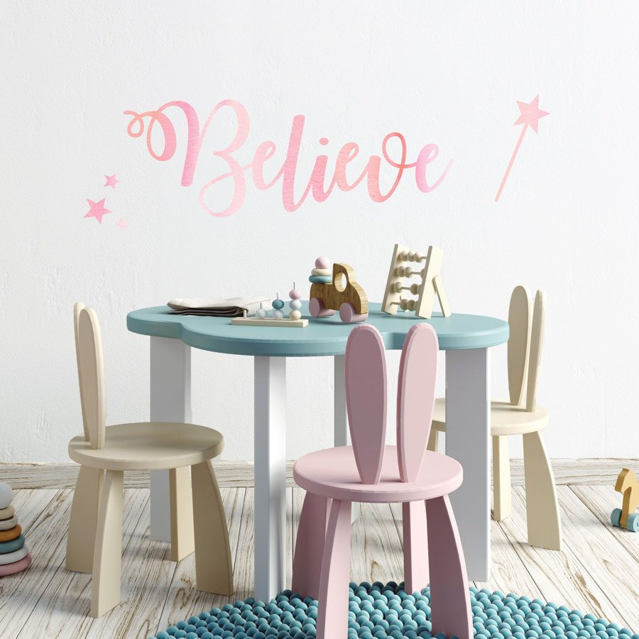 believe wall sticker quote in regular size perfect for a girls bedroom above a bed or furniture
