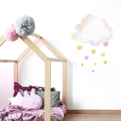 clouds with hearts in large size perfect for a girls bedroom