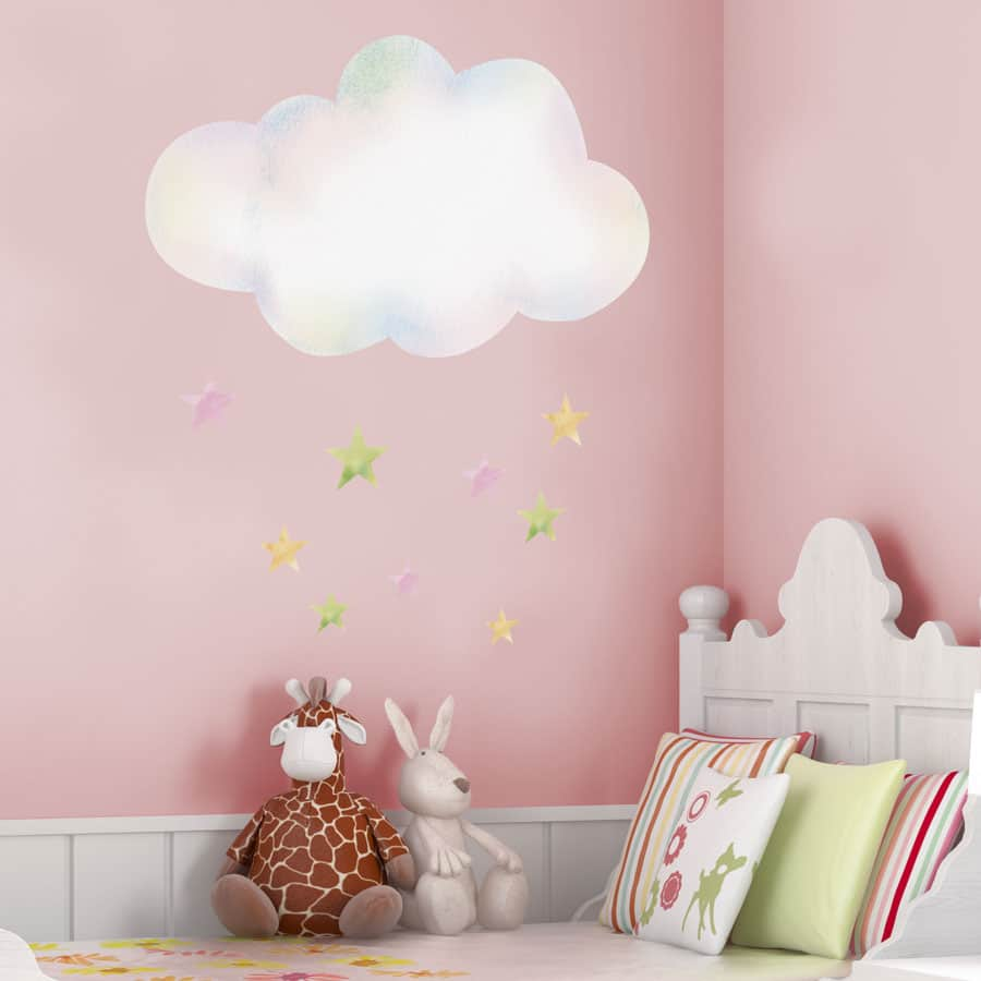 Cloud With Stars Wall Sticker Unicorn Wall Stickers Stickerscape Uk