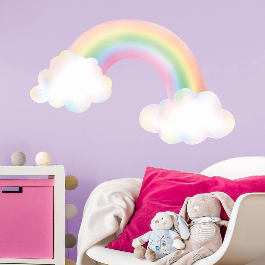 Pastel rainbow with clouds wall sticker | Rainbow wall ...