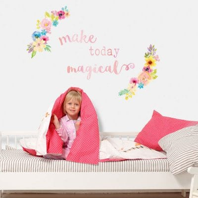 make today magical quote wall sticker with watercolour floral wreathes