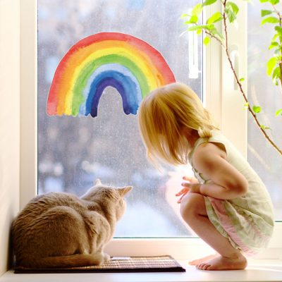 Watercolour rainbow window sticker perfect for decorating a child's bedroom or playroom