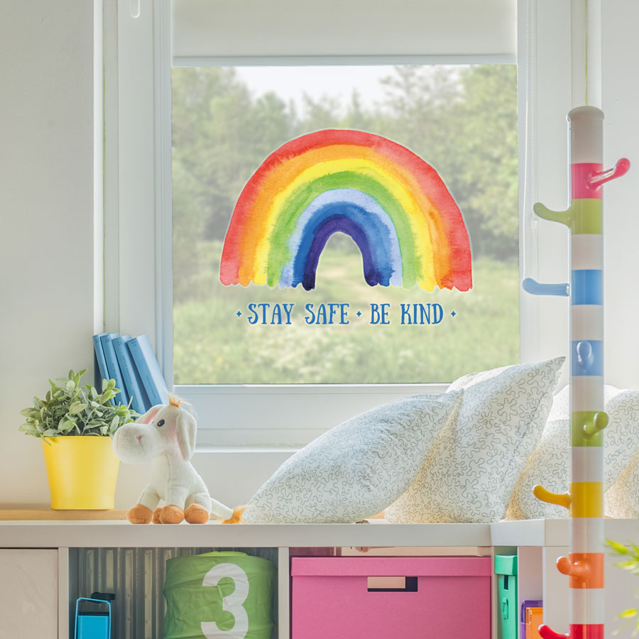 Stay safe be kind window sticker perfect for brightening up a child's bedroom or playroom