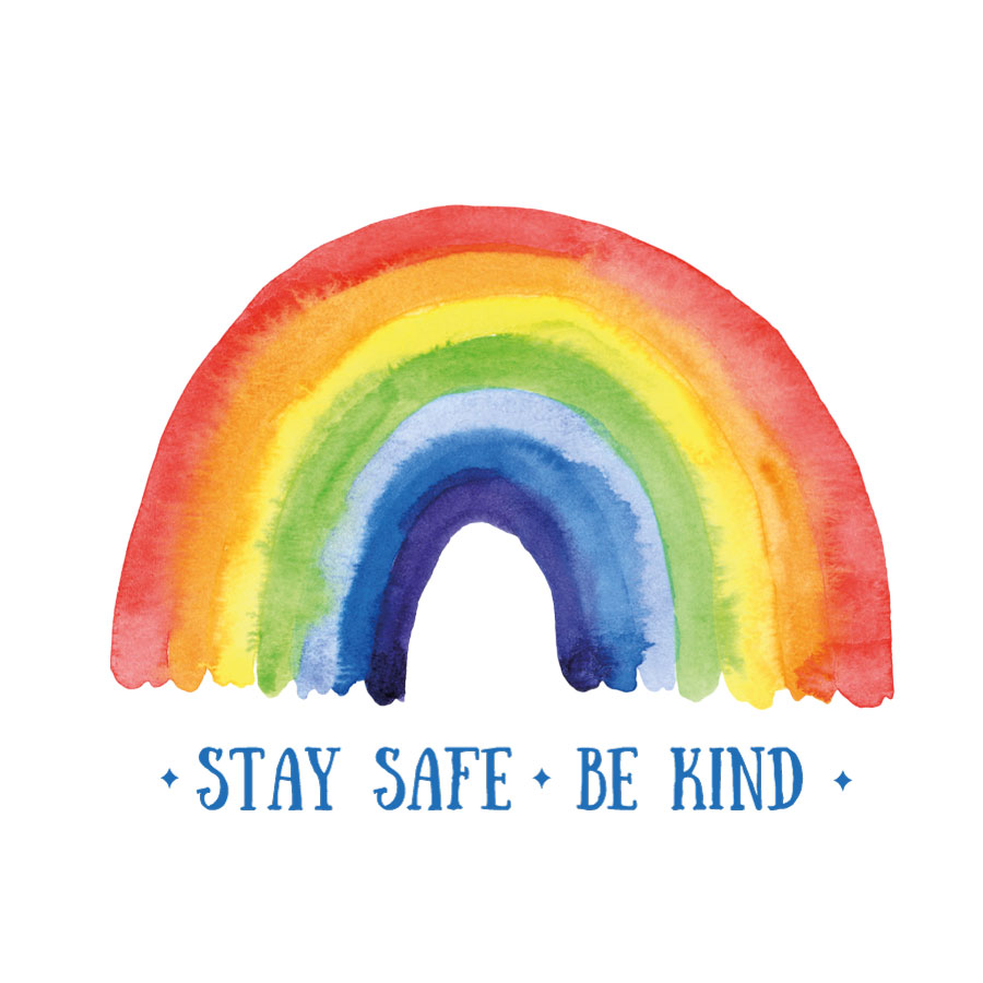 Stay safe be kind rainbow window sticker | Stickerscape | UK
