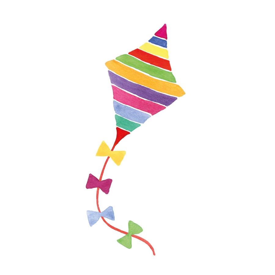 Rainbow kite window sticker on a white background
