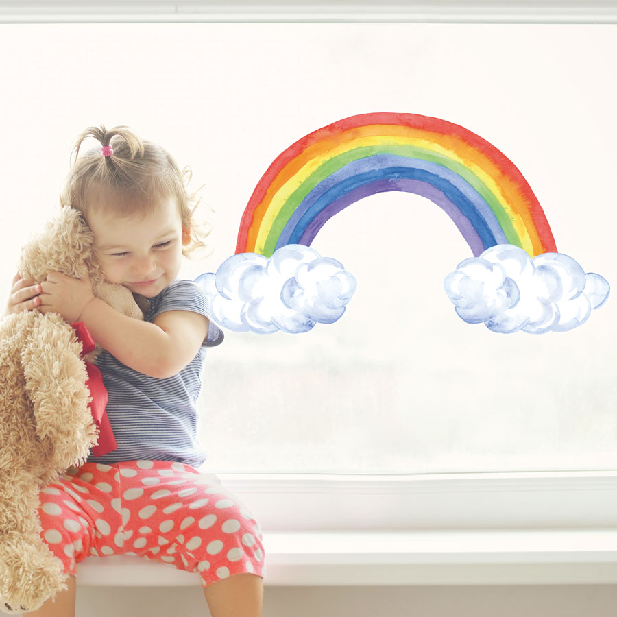 Watercolour rainbow an clouds window sticker perfect for decorating a child's bedroom or playroom