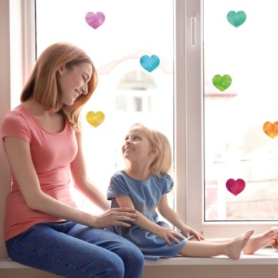 Watercolour rainbow heart window stickers perfect for decorating a child's window and brightening up your home