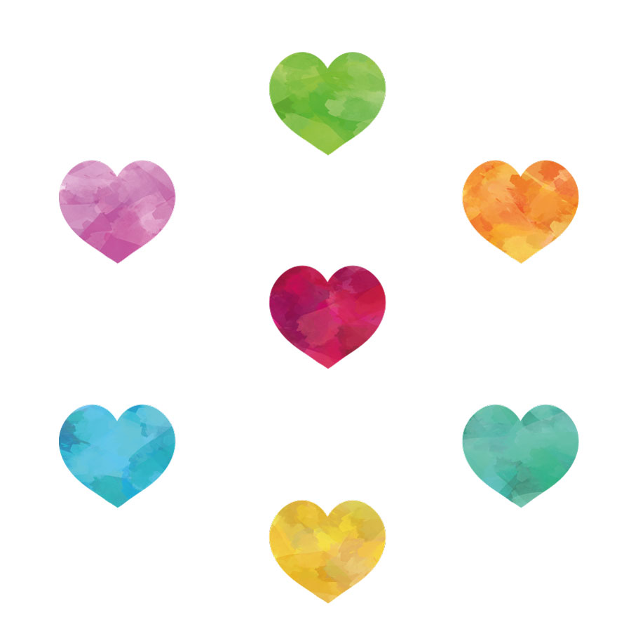 Watercolour rainbow heart window stickers on a white background